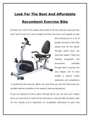 Look For The Best And Affordable Recumbent Exercise Bike.doc