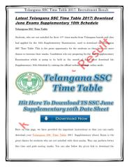 Latest Telangana SSC Time Table 2017 Download June Exams Supplementary 10th Schedule.pdf