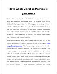 Have Whole Vibration Machine in your Home.doc
