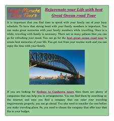 Rejuvenate your Life with best Great Ocean road Tour.pdf